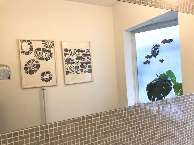 鹿児島 睦/ZUAN & ZOKEI/図案ポスター(B3)/FISH & FLOWER・5 BLUE DISHES