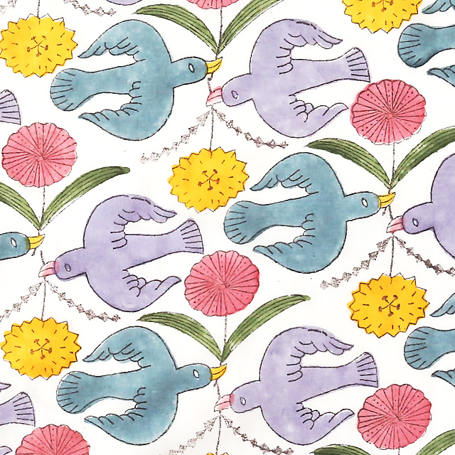鹿児島 睦/ハンカチ/カラー/鳥と花
