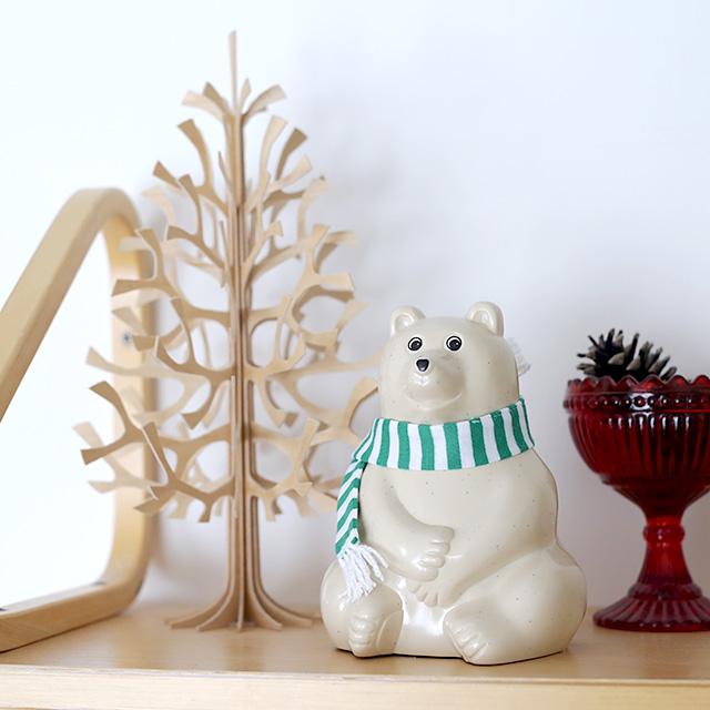 【数量限定】白くま貯金箱(2017年限定 緑ボーダーマフラー付き) MK-Tresmer Polar Bear Money Box