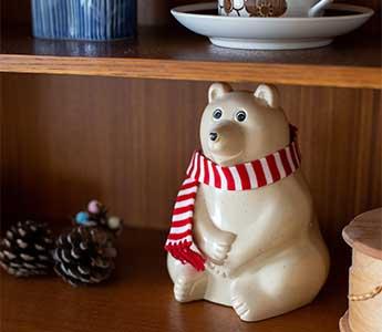 【数量限定】しろくま貯金箱(2021年秋冬限定 ブルーボーダーマフラー付き) Polar Bear Money Box